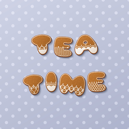 Tea time inscription made of gingerbread cookies with icing on polka dot background. Vector Illustration Illustration