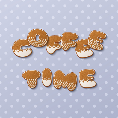 Coffee time inscription made of gingerbread cookies with icing on polka dot background. Vector Illustration
