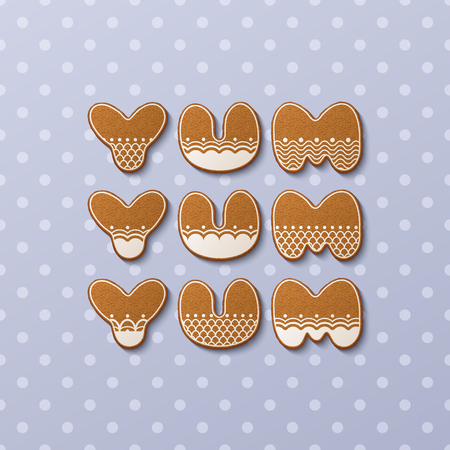 Yum yum yum inscription made of gingerbread cookies with icing on polka dot background. Vector Illustration