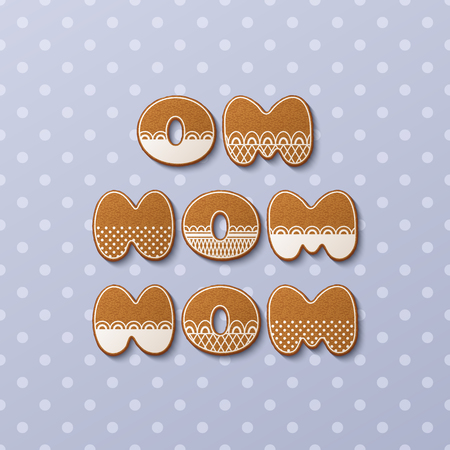 Om nom nom inscription made of gingerbread cookies with icing on polka dot background. Vector Illustration