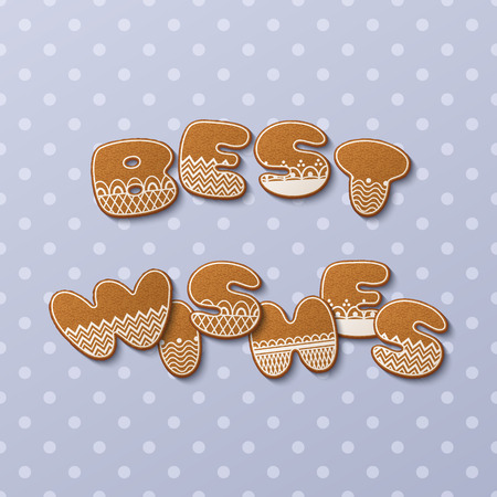 Best wishes inscription made of gingerbread cookies with icing on polka dot background. Vector Illustration