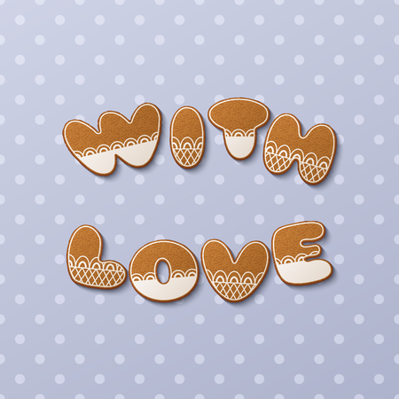 With love inscription made of gingerbread cookies with icing on polka dot background. Vector Illustration