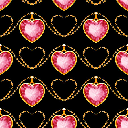 Seamless pattern with golden chains and gemstones on black background. Vector Illustration