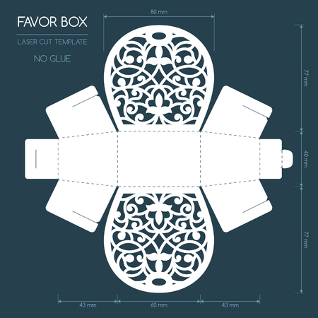 Openwork favor box with a lace ornament. Wedding bonbonniere. Laser cutting Ilustrace