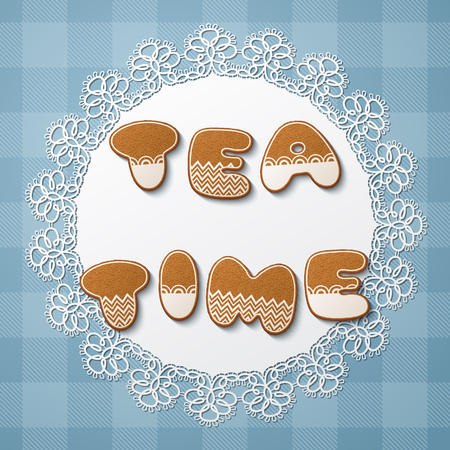 Tea time inscription made of gingerbread cookies with icing on lace doily. Vector Illustration Illustration