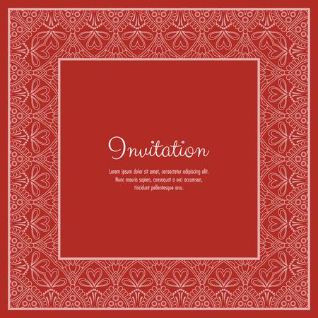 Abstrakter dekorativer Spitzenrahmen für Grußkarte oder Einladung. Vektor-Illustration