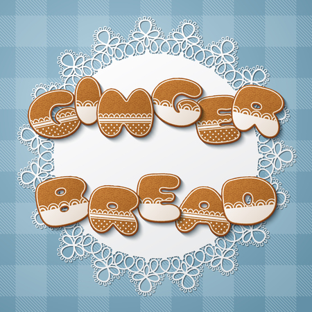 Gingerbread inscription made of gingerbread cookies with icing on lace doily. Vector Illustration