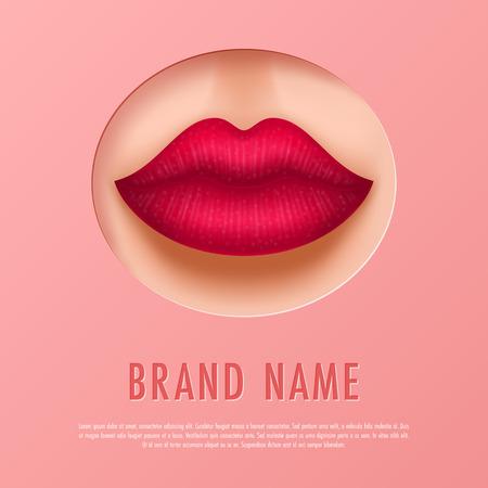 Cosmetic magazine template, lipstick catalog. Vector illustration
