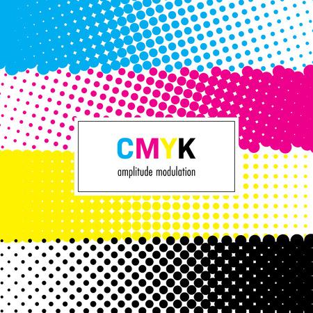 CMYKカラーの抽象的なハーフトーンの背景。ベクトルの図