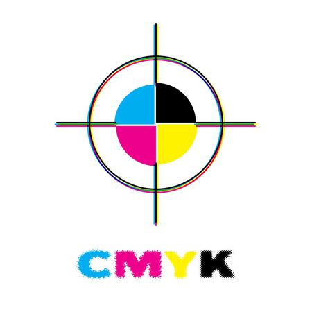 CMYK crosshair register mark for offset printing. Vector Illustration