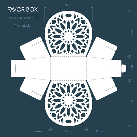 Openwork favor box with a lace ornament. Wedding bonbonniere. Laser cutting Ilustracja