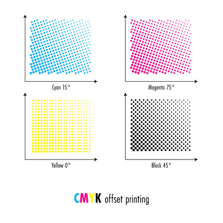 CMYK screen angles for printing. Vector Illustration Vector Illustration