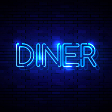 Diner neon sign on the brick wall. Vector Illustration Çizim