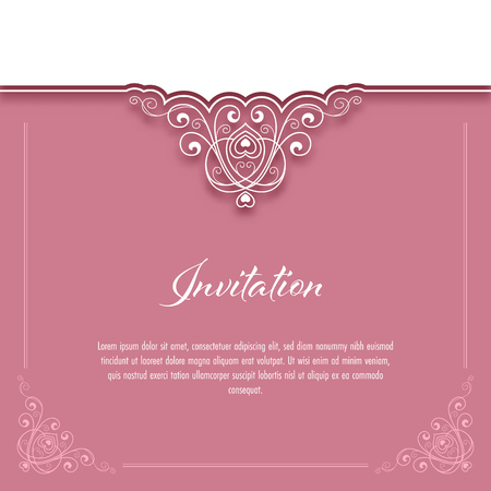 Vintage background with lace border for greeting card or wedding invitation. Vector Illustration