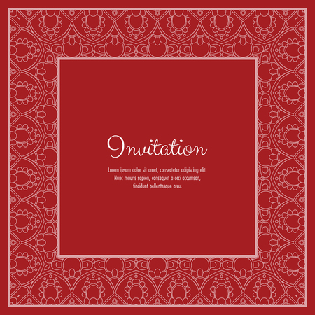 Abstract ornamental lace frame for greeting card or invitation. Vector Illustration