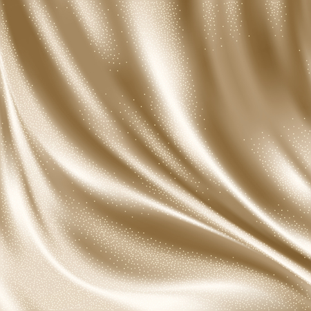 Luxury beige satin smooth fabric background for celebration, ceremony, event invitation card or advertising poster. Vector Illustration
