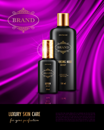 Cosmetic advertising poster with realistic containers for skin care products on purple smooth satin fabric background. Mockup for promoting your brand. Vector illustration