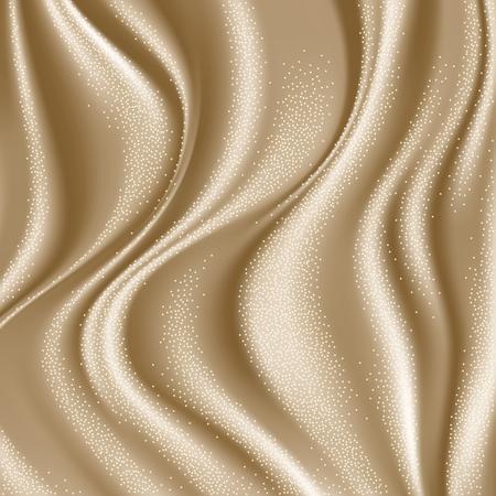 Sfondo di tessuto liscio raso beige di lusso per celebrazione, cerimonia, carta di invito evento o poster pubblicitario. Illustrazione vettoriale Vettoriali