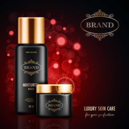 Cosmetic advertising poster with realistic containers for skin care products on dark red background with bokeh lights. Mockup for promoting your brand. Vector illustration
