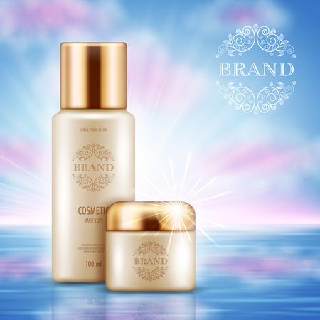 Cartel publicitario cosmético con envases realistas para productos para el cuidado de la piel sobre fondo de cielo azul. Maqueta para promocionar tu marca. Ilustración vectorial Ilustración de vector