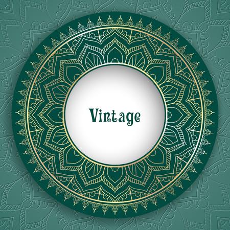 Vintage ornamental round frame for greeting card, invitation or packaging design. Vector Illustration