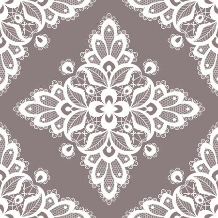 Nahtloses Muster der weißen Blumenspitze. Vektor-Illustration