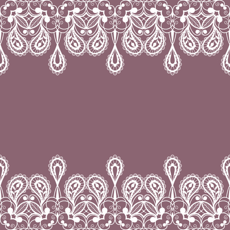 White floral lace decorative background. Vector Illustration