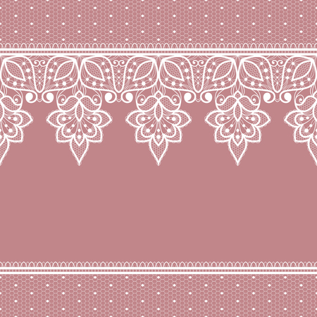 White floral lace decorative background. Vector Illustration