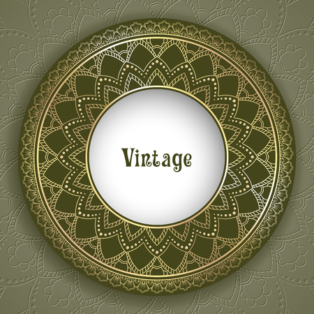 Vintage ornamental round frame for greeting card, invitation or packaging design. Vector Illustration