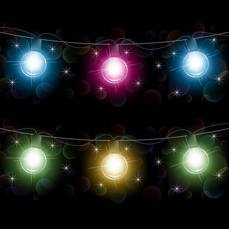Festive garland lights. Design element for Christmas greeting card, invitation or advertising poster. Vector Illustration