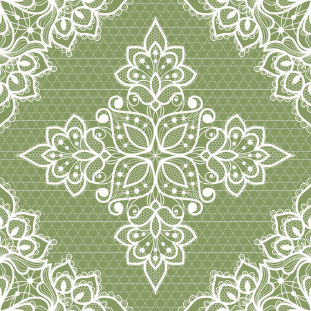 White floral lace seamless pattern. Vector Illustration