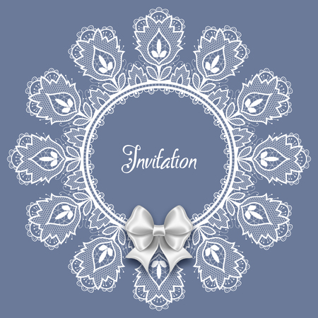 Wedding card or invitation template with a filigree lace round frame and white satin bow Illustration