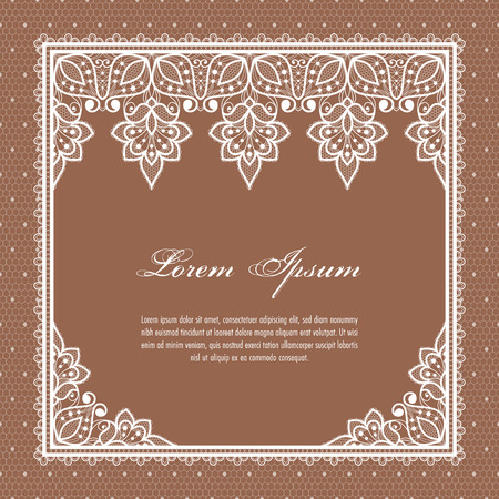 Wedding card or invitation template with a filigree lace floral pattern Vecteurs