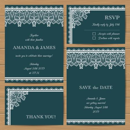 Conjunto de tarjetas de boda con elegantes adornos de encaje.