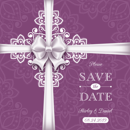 Wedding card or invitation template with a filigree lace pattern and white satin bow