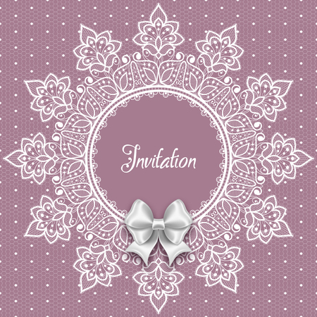 Wedding card or invitation template with a filigree lace round frame and white satin bow