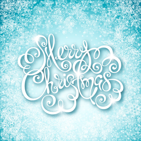 Merry Christmas calligraphic inscription on light blue background with snowflakes Ilustracja