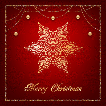 Illustration of christmas greeting card or invitation with decorative snowflake, golden beads and confetti on red background