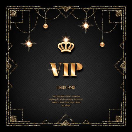 VIP invitation template with golden crown, art deco frame and sparkling beads on black background Ilustração Vetorial