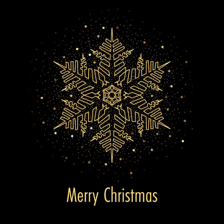 Illustration of christmas greeting card or invitation with decorative snowflake and golden confetti on black background