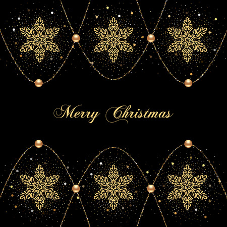 Illustration of christmas greeting card or invitation with decorative snowflakes, golden beads and confetti on black background