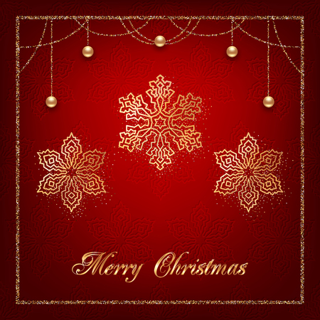 Illustration of christmas greeting card or invitation with decorative snowflakes, golden beads and confetti on red background Ilustracja