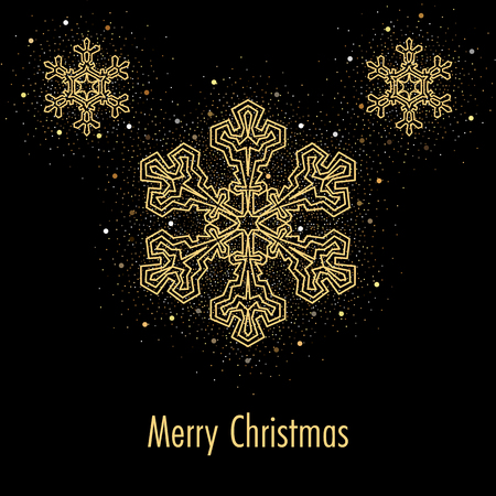 Illustration of christmas greeting card or invitation with decorative snowflakes and golden confetti on black background Ilustracja