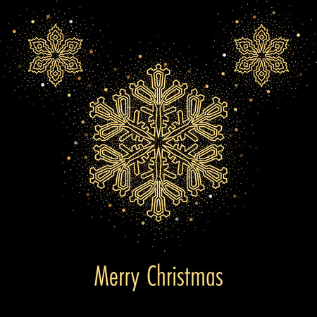 Illustration of christmas greeting card or invitation with decorative snowflakes and golden confetti on black background  イラスト・ベクター素材