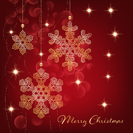 Illustration of christmas greeting card or invitation with decorative snowflakes, golden beads and bokeh lights on red background