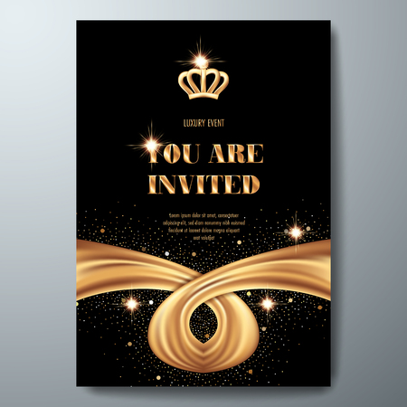 VIP invitation template with golden crown and smooth fabric on black background