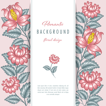Romantic floral background with stylized flowers. Greeting card or invitation template