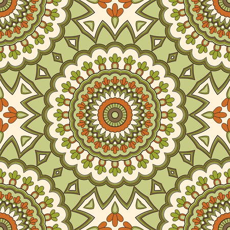 Dekoracyjny kolorowy etniczny wzór na tkaninę lub opakowanie w stylu orientalnym. Ręcznie rysowane ilustracja