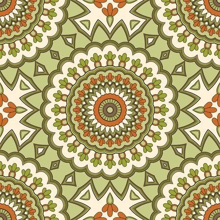 Modello senza cuciture etnico colorato decorativo per tessuto o avvolgimento in stile orientale. Illustrazione disegnata a mano