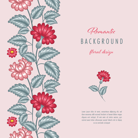 Romantic floral background with stylized flowers. Greeting card or invitation template Ilustração Vetorial